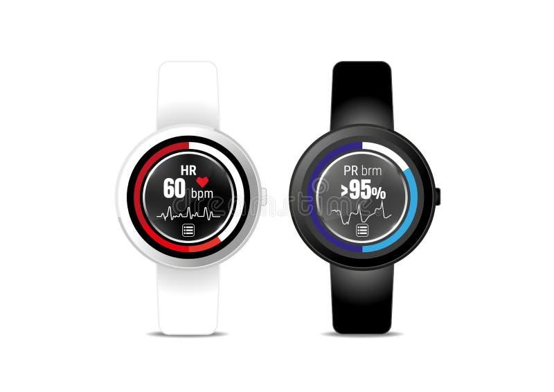 Exposição da aplicação da frequência cardíaca no smartwatch ilustração do vetor
