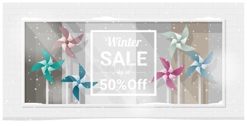 Exposição da janela da venda do inverno com fundo colorido dos girândolas ilustração do vetor
