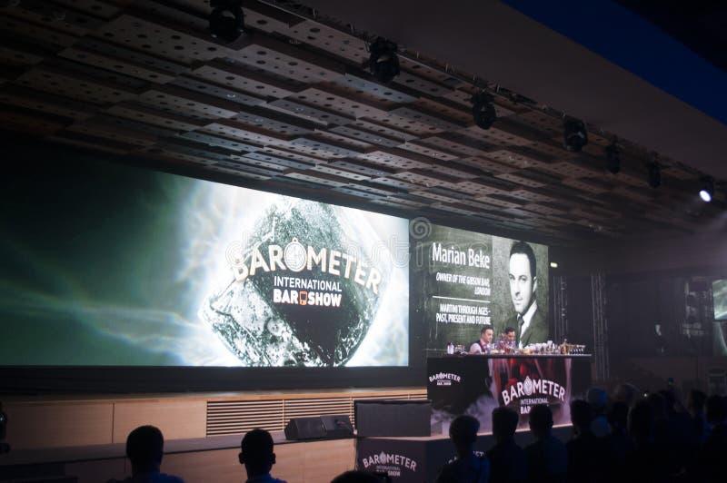 Exposição da mostra do barômetro Kiev setembro de 2018 Palco principal imagem de stock royalty free