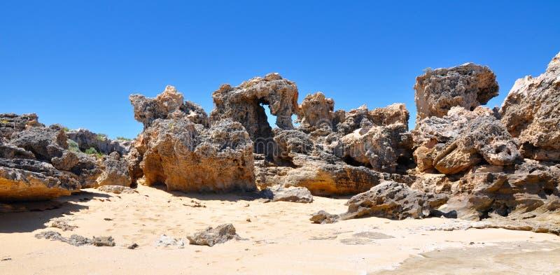 Exposição da pedra calcária de Peron do cabo, Austrália Ocidental imagem de stock