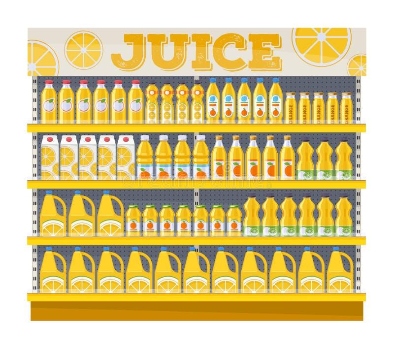 Exposição da prateleira do supermercado com suco de laranja ilustração royalty free