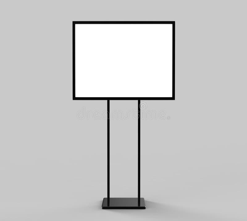 Exposição de aço da propaganda da bandeira do cartaz do suporte do sinal do suporte interno, placa do menu da entrada Rendição va ilustração royalty free