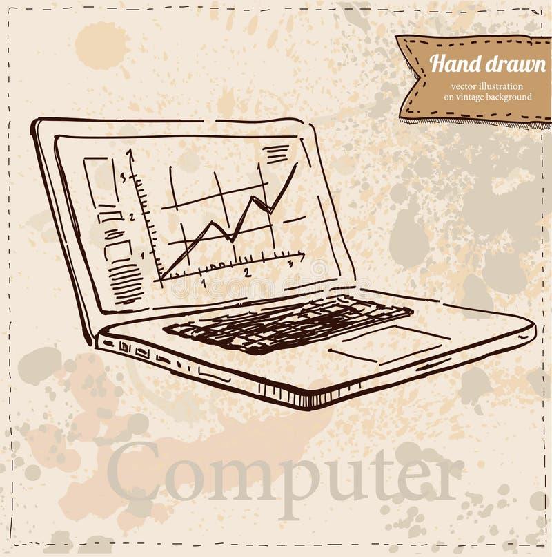 Exposição de computador do vetor isolada no branco ilustração stock