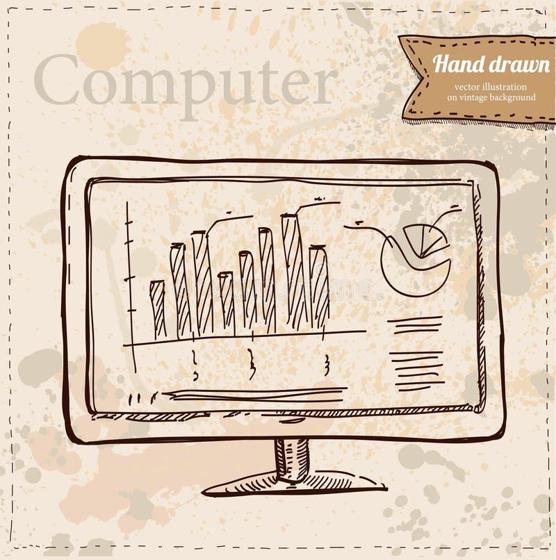 Exposição de computador do vetor isolada no branco ilustração royalty free