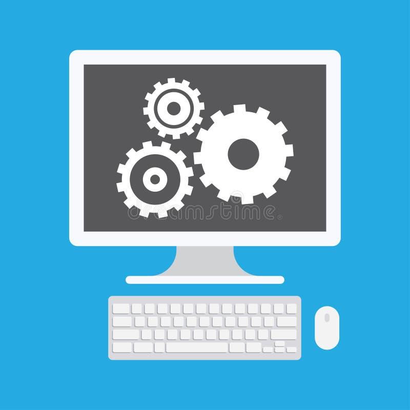 Exposição de computador e ícone da engrenagem ilustração stock