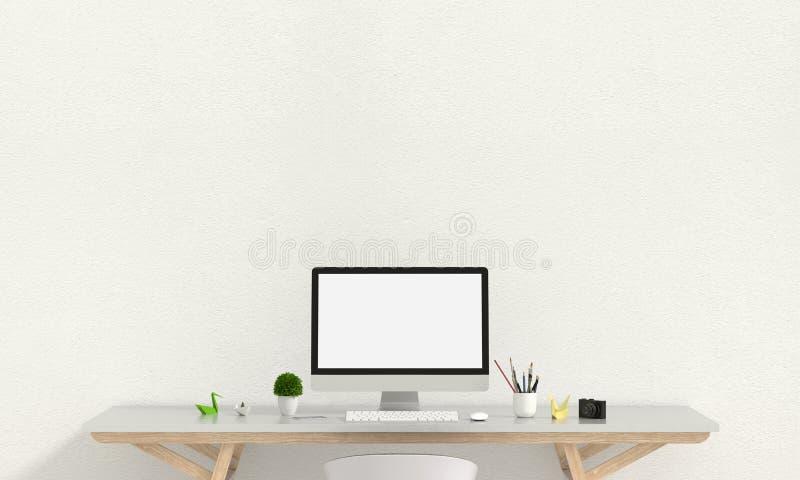 A exposição de computador para o modelo na tabela na sala branca e o espaço vazio text fot, a rendição 3D ilustração royalty free