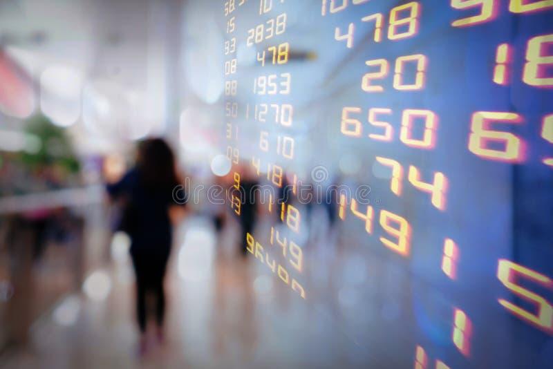 Exposição de trocas do mercado de valores de ação ou do fundo de troca da informação da carta fotografia de stock