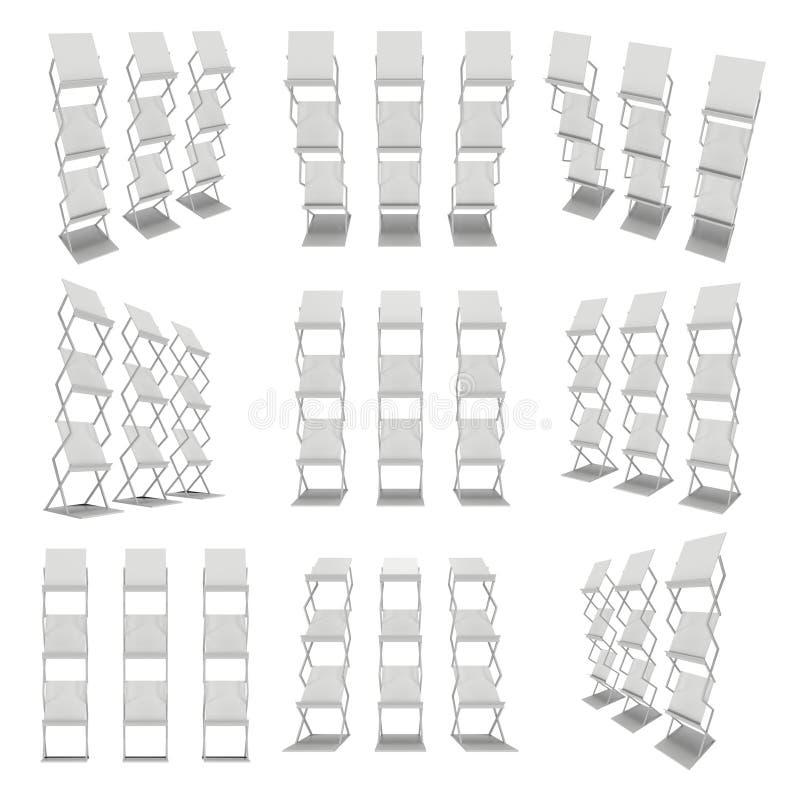 exposição do folheto 3D Grupo da cremalheira de compartimento ilustração do vetor