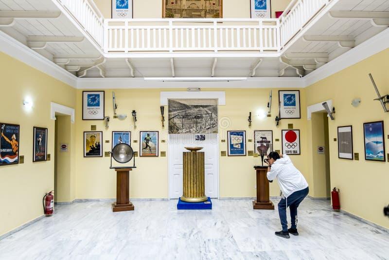 Exposição do Museu dos Jogos Olímpicos no estádio do Panathenaic fotografia de stock royalty free