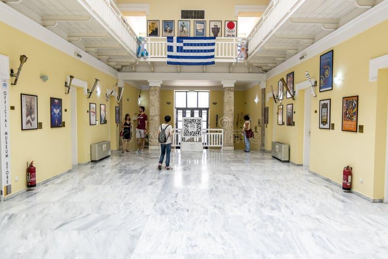 Exposição do Museu dos Jogos Olímpicos no estádio do Panathenaic imagens de stock