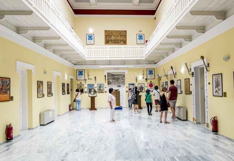 Exposição do Museu dos Jogos Olímpicos no estádio do Panathenaic imagem de stock