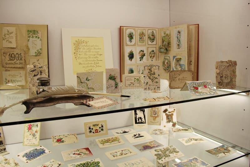 Exposição do museu do selo postal em Liechtenstein imagens de stock royalty free