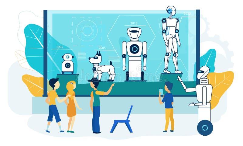 Exposição do robô Demonstração da tecnologia do museu liso ilustração stock