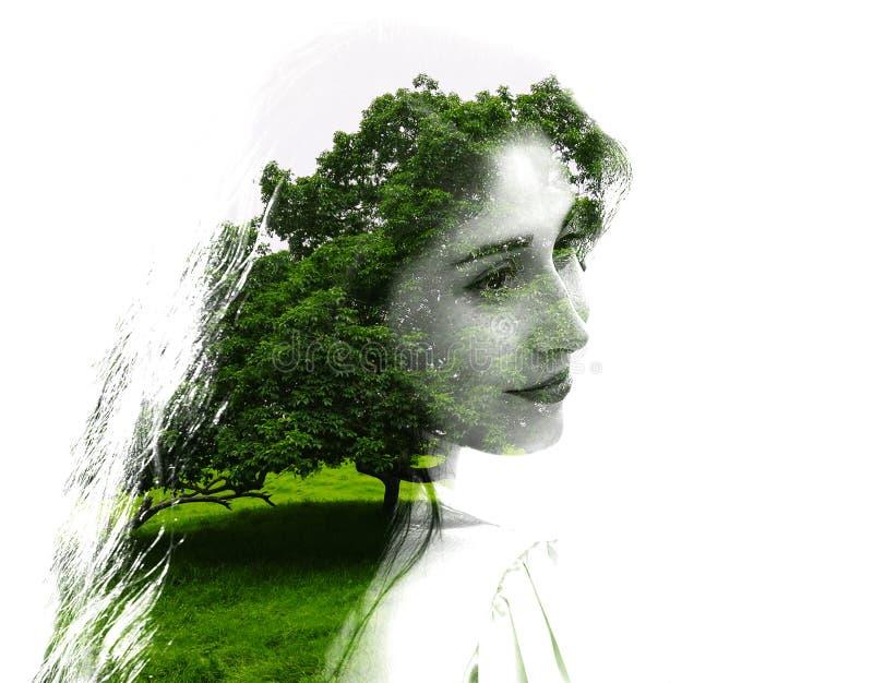 Exposição dobro da menina bonita nova entre as folhas e as árvores O retrato da senhora atrativa combinou com a fotografia da árv ilustração stock