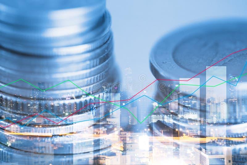 Exposição dobro da moeda e gráfico de financeiro para a estratégia de investimento imagens de stock royalty free