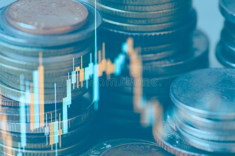 Exposição dobro da moeda e gráfico de financeiro para a estratégia de investimento foto de stock