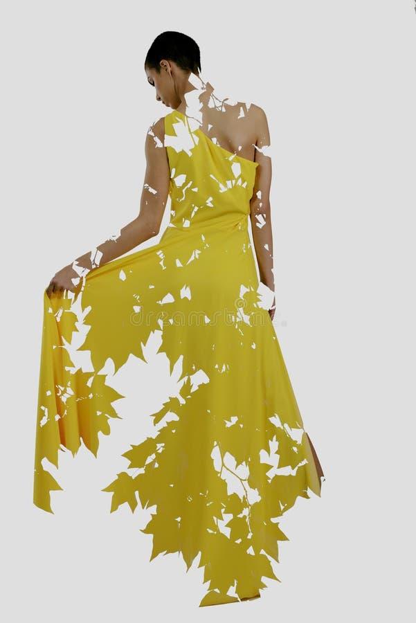 Exposição dobro da mulher e da árvore imagens de stock royalty free