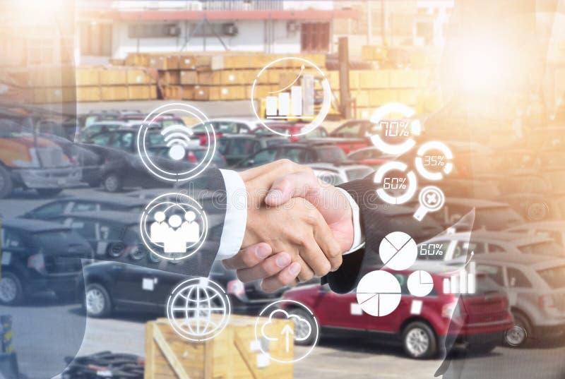 Exposição dobro de agitar executivos da mão para o negócio do sucesso com ícone novo na importação ou na exportação ilustração stock