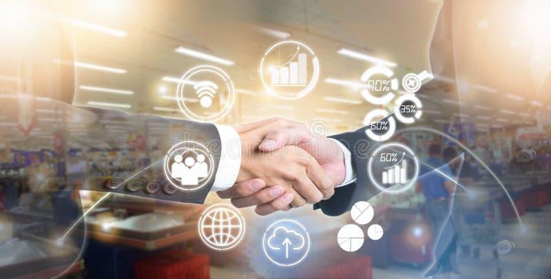 Exposição dobro de agitar executivos da mão para o negócio do sucesso no mercado em linha ilustração do vetor