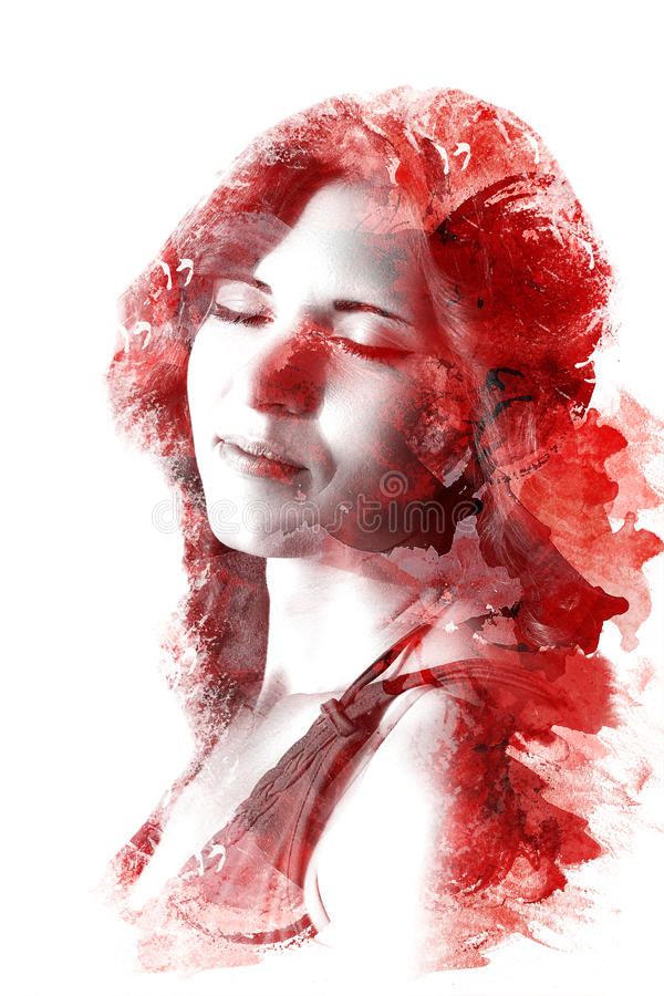 Exposição dobro de uma menina bonita nova Retrato pintado de uma cara fêmea Imagem colorido isolada no fundo branco f ilustração do vetor