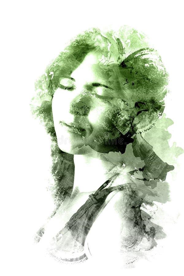 Exposição dobro de uma menina bonita nova Retrato pintado de uma cara fêmea Imagem colorido isolada no fundo branco f ilustração royalty free