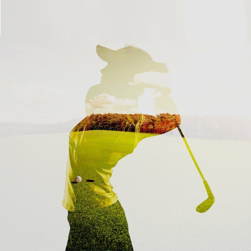 Exposição dobro do jogador de golfe fotografia de stock