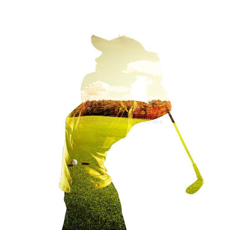 Exposição dobro do jogador de golfe fotos de stock