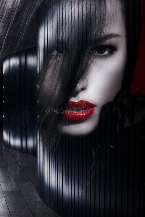 Exposição dobro do retrato bonito da mulher imagem de stock royalty free