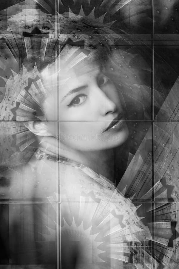 Exposição dobro do retrato sensual bonito novo da mulher foto de stock royalty free