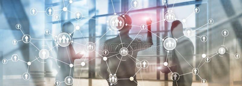 Exposição dobro dos meios mistos da tela virtual de estrutura de organização da relação dos povos da gestão de recursos humanos d ilustração royalty free