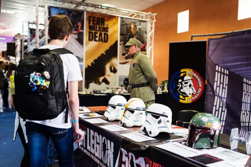 Exposição dos capacetes o dos Stormtroopers em EECC 2017 imagens de stock royalty free