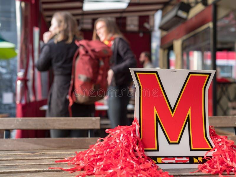 Exposição e decorações da Universidade de Maryland no evento dos alunos imagem de stock royalty free