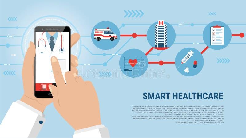 Exposição esperta do conceito da aplicação dos cuidados médicos no smartphone ilustração do vetor