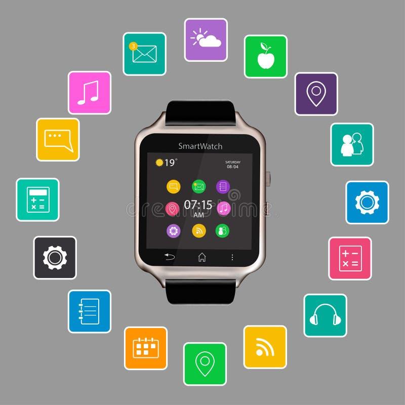 Exposição esperta do dispositivo do relógio com ícones do app Isolado no fundo cinzento ilustração royalty free