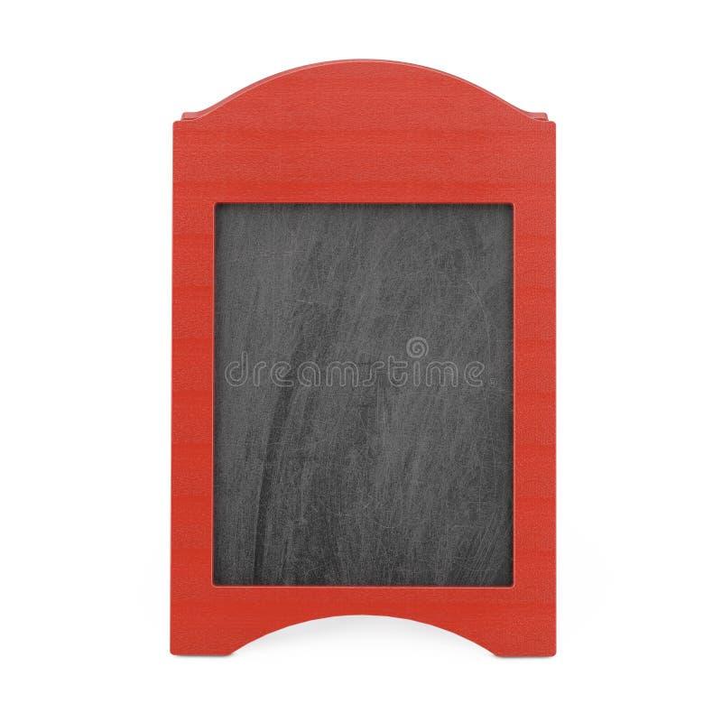 Exposição exterior do quadro-negro de madeira vazio vermelho do menu rendição 3d ilustração do vetor