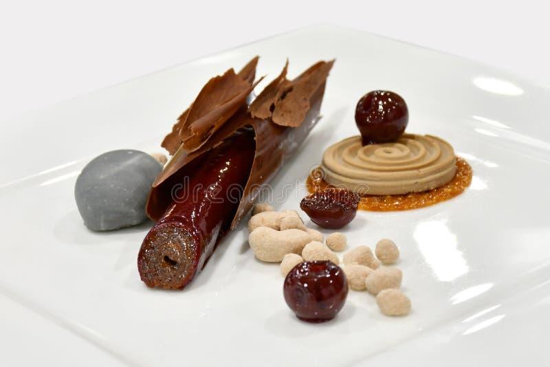 Exposição fria da sobremesa gourmet: Casca do chocolate fotografia de stock