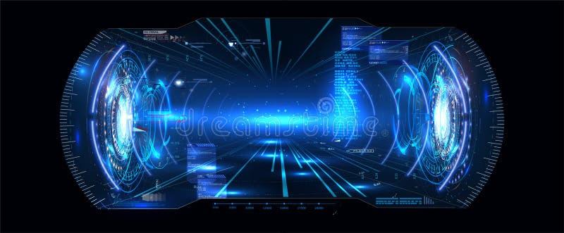 Exposição futurista HUD UI GUI Interface Screen Design da cabeça-acima do vetor VR Realidade virtual Interface de utilizador de D ilustração do vetor