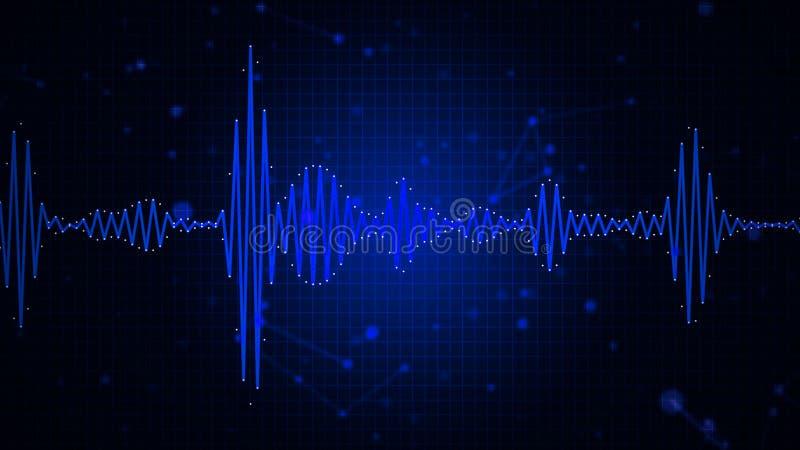 Exposição gráfica do sumário audio da forma de onda do espectro ilustração royalty free