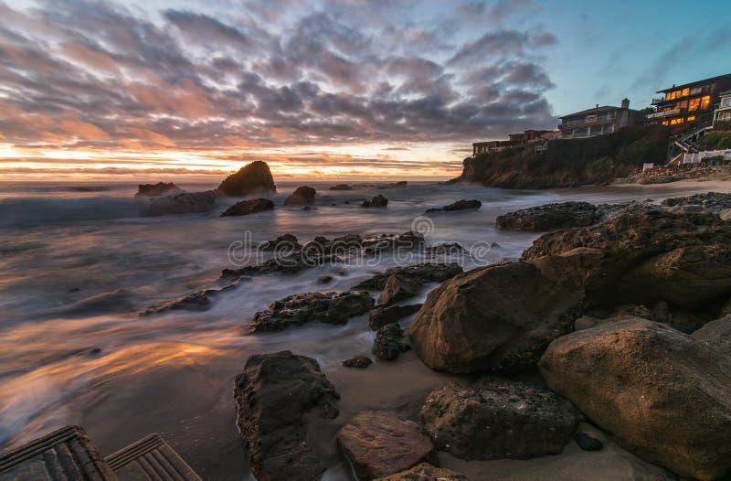 Exposição longa do Laguna Beach imagem de stock