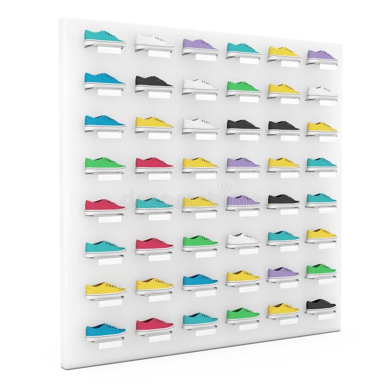 Exposição Multicolour dos calçados de muitas sapatilhas na prateleira para a venda na loja da forma rendição 3d imagem de stock royalty free