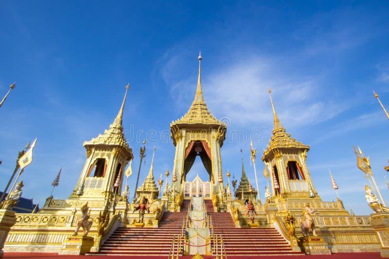 Exposição na cerimônia real da cremação, terra cerimonial de Sanam Luang, Banguecoque, Tailândia em November25,2017: Crematório r foto de stock royalty free