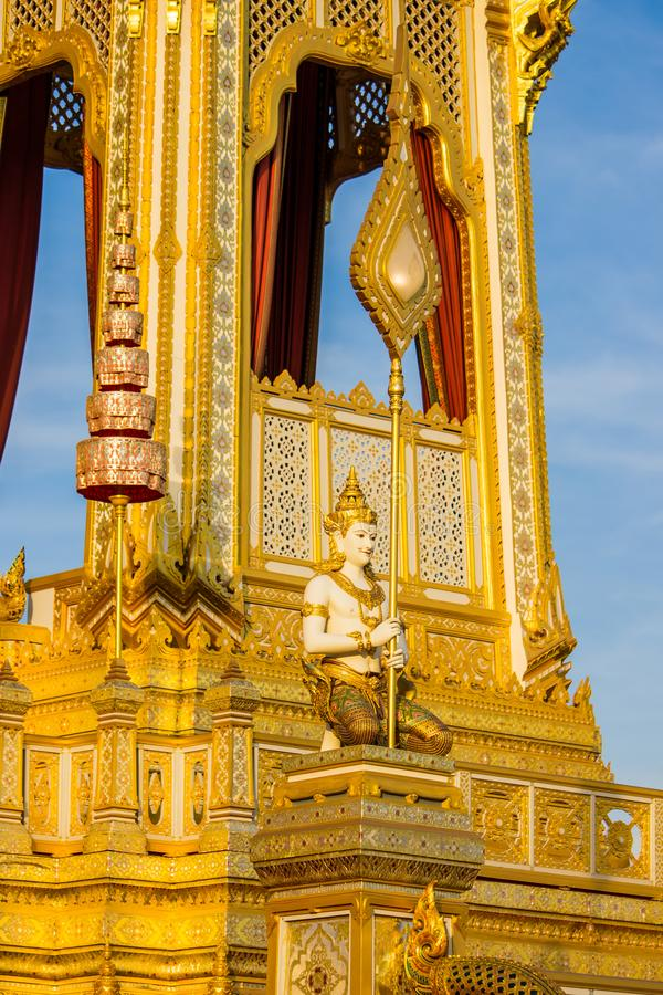 Exposição na cerimônia real da cremação, terra cerimonial de Sanam Luang, Banguecoque, Tailândia em November25,2017: Escultura do fotos de stock royalty free