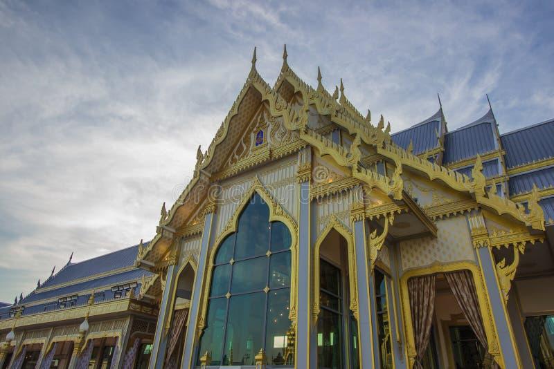 Exposição na cerimônia real da cremação, terra cerimonial de Sanam Luang, Banguecoque, Tailândia em November25,2017: Pavili defat imagem de stock