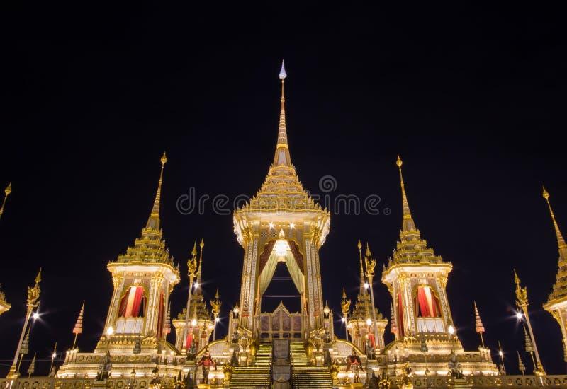 Exposição real da cremação, Sanam Luang, Banguecoque, Tailândia em November7,2017: Crematório real para a cremação real de seu Ma imagem de stock royalty free