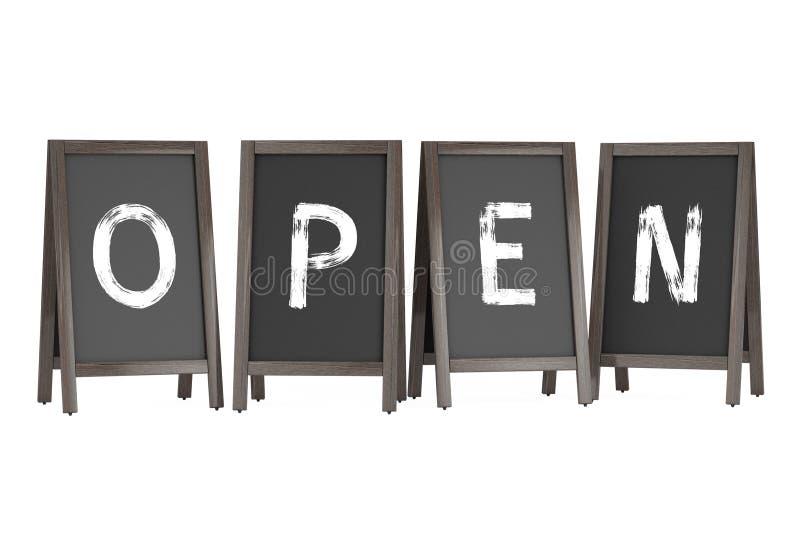 Exposições exteriores do quadro-negro de madeira do menu com sinal aberto rende 3D ilustração royalty free