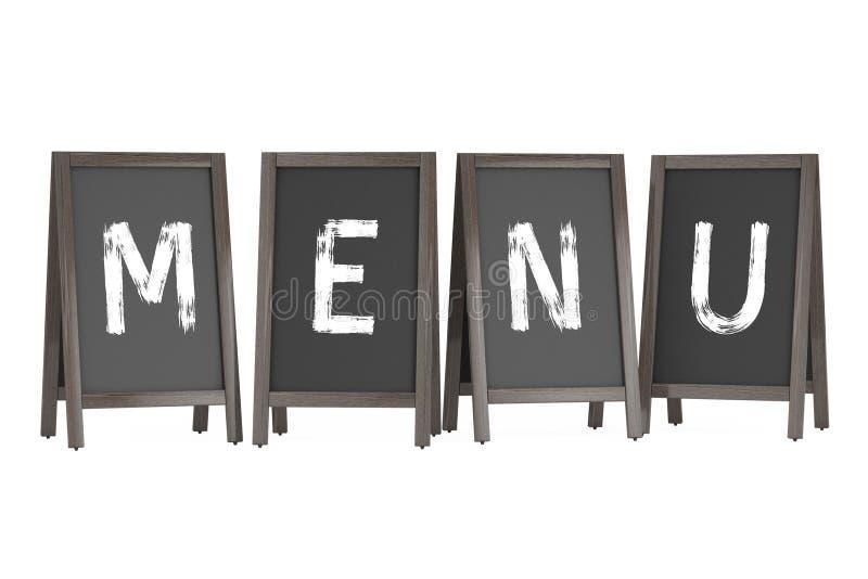 Exposições exteriores do quadro-negro de madeira do menu com sinal do menu rende 3D ilustração stock
