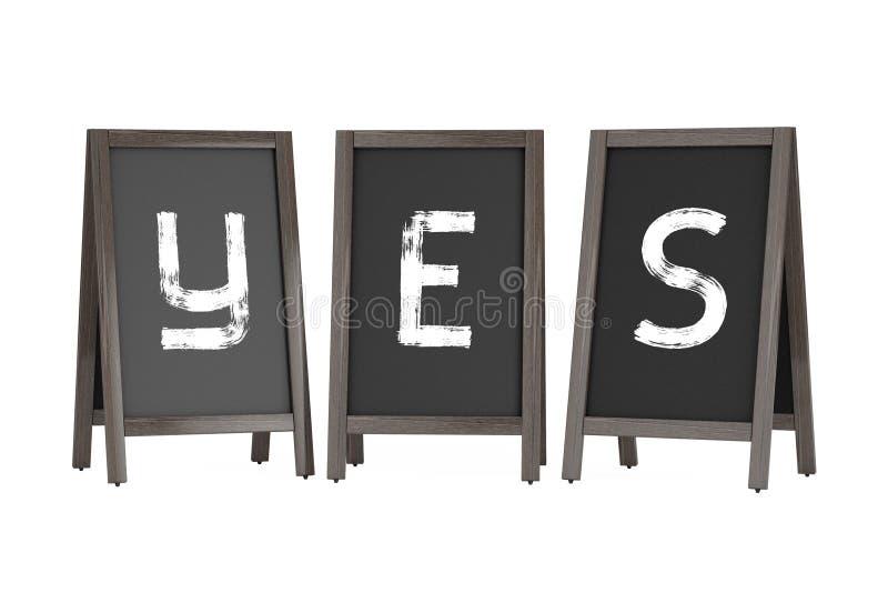 Exposições exteriores do quadro-negro de madeira do menu com sinal do Yes 3d rendem ilustração royalty free