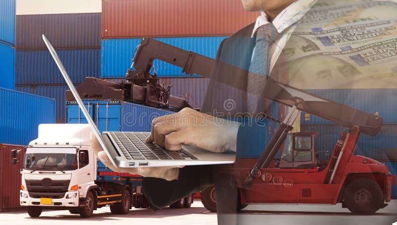 Exposições múltiplas do transporte do negócio, logística, macacão do fundo da indústria imagens de stock