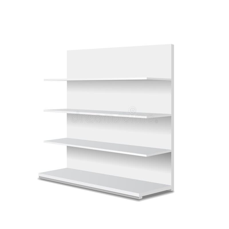 Exposições vazias brancas da mostra com prateleiras varejos Opinião de perspectiva Molde para anunciar Vetor 3D ilustração do vetor