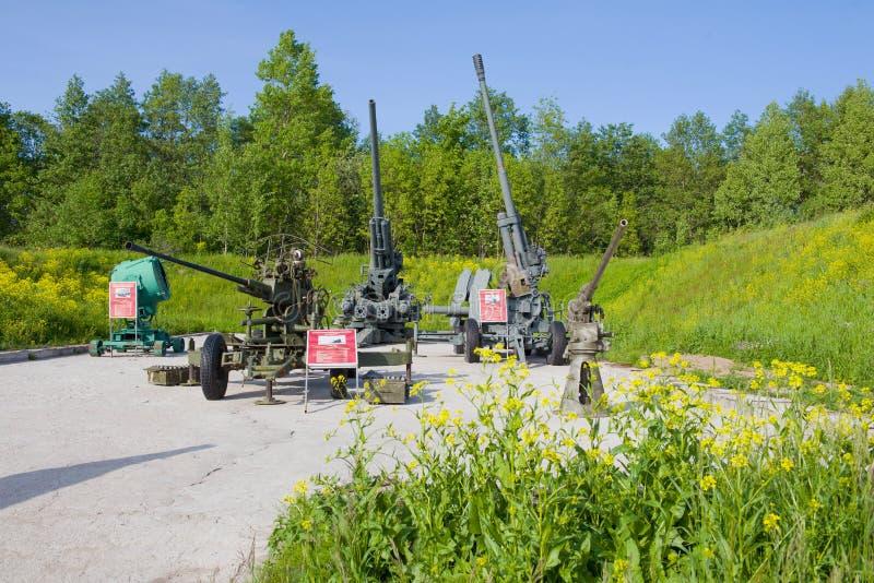 Exposición de la artillería antiaérea en el parque del patriota Kronstadt imágenes de archivo libres de regalías